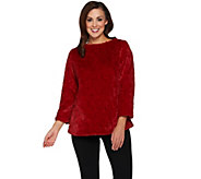 Dennis Basso Brushed Rose Faux Fur Pullover Top - A286131