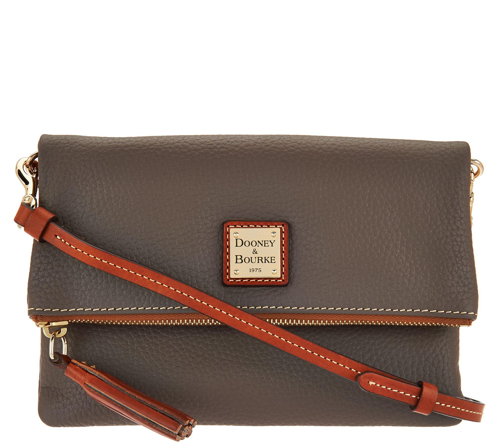 Dooney   Bourke Pebble Leather Foldover Zip Crossbody - Page 1 — QVC.com