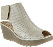 FLY London Leather Perforated Peep-toe Wedges - Yahl - A286431