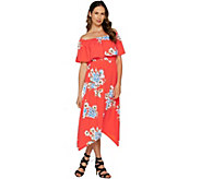 Du Jour Off the Shoulder Floral Printed Knit Dress - A293731