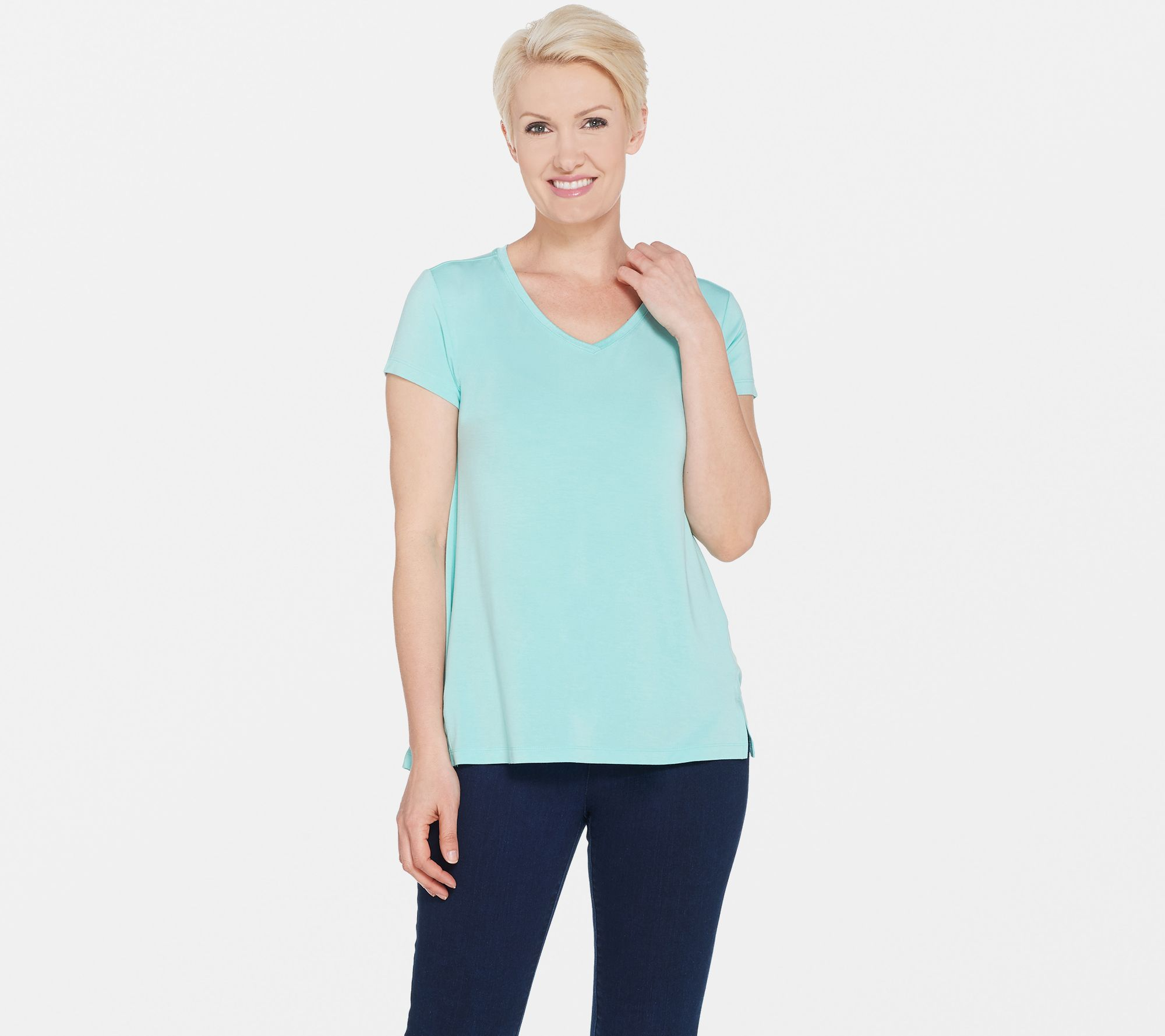 1dc8b22312cfb5 H by Halston Essentials V-Neck Top with Forward Notch Detail - Page 1 —  QVC.com