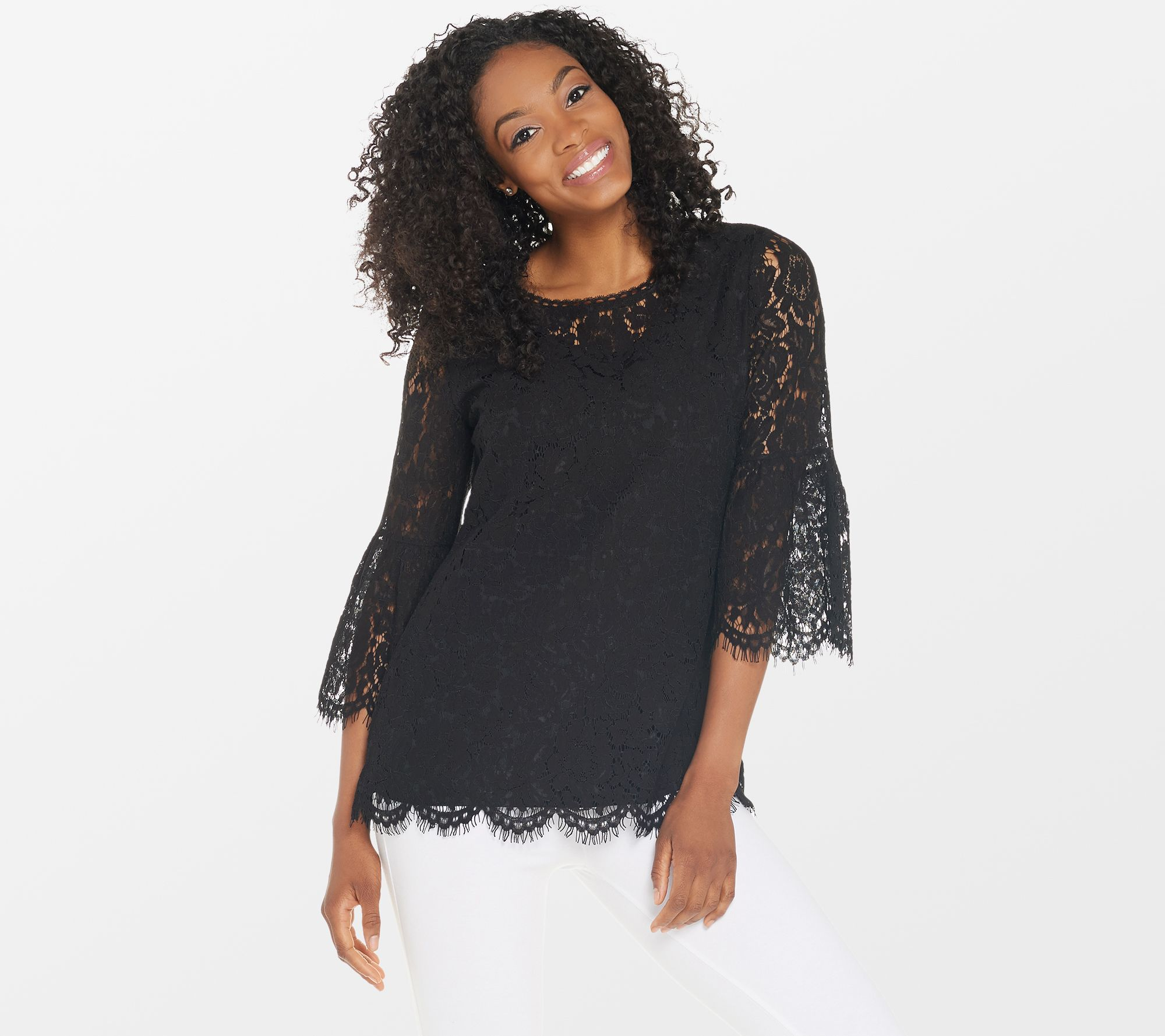 219621335d5 Isaac Mizrahi Live! Floral Lace 3/4 Bell Sleeve Tunic - Page 1 — QVC.com