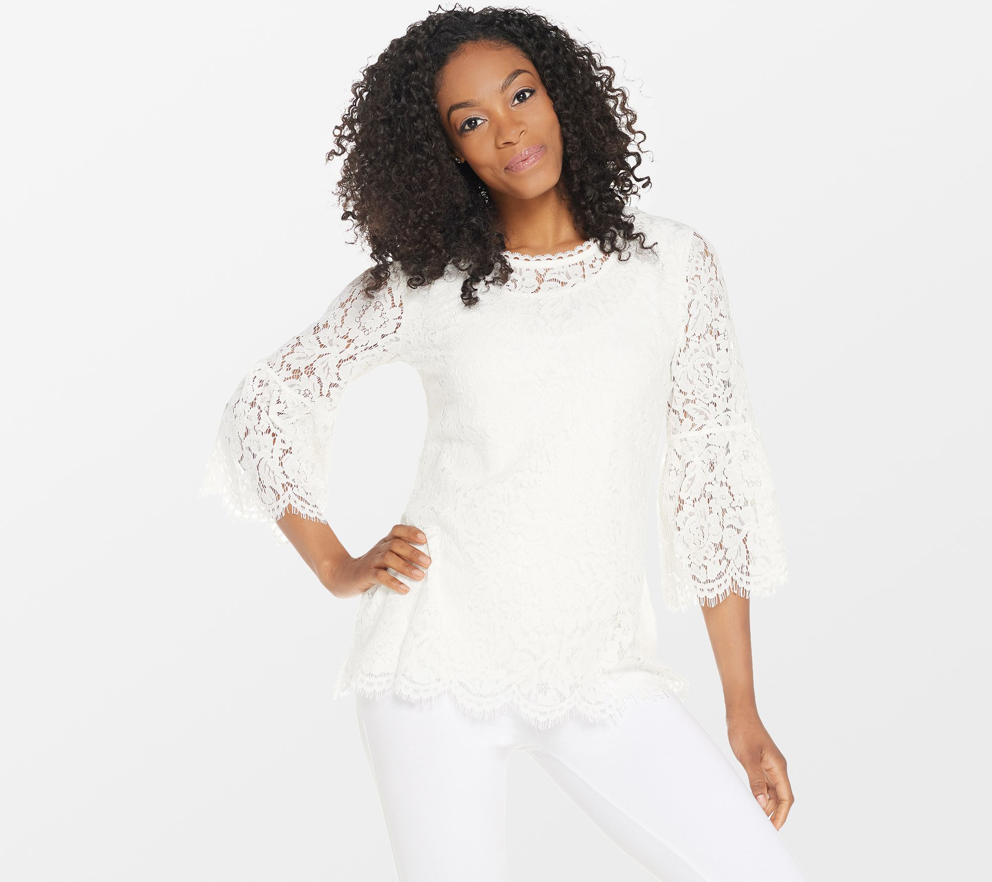 11fd64992166ad Isaac Mizrahi Live! Floral Lace 3 4 Bell Sleeve Tunic - Page 1 — QVC.com