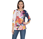 Susan Graver Printed Liquid Knit Top with Keyhole - A308231