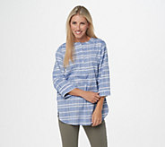 Joan Rivers Windowpane Tunic with 3/4-Sleeves - A349231