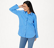 Denim & Co. Waffle Button Front Long-Sleeve Collared Tunic - A352531