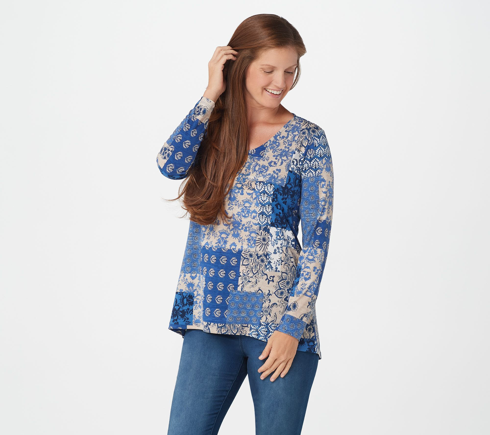 Image result for A367231 Susan Graver Printed Liquid Knit V-Neck Long Sleeve Top