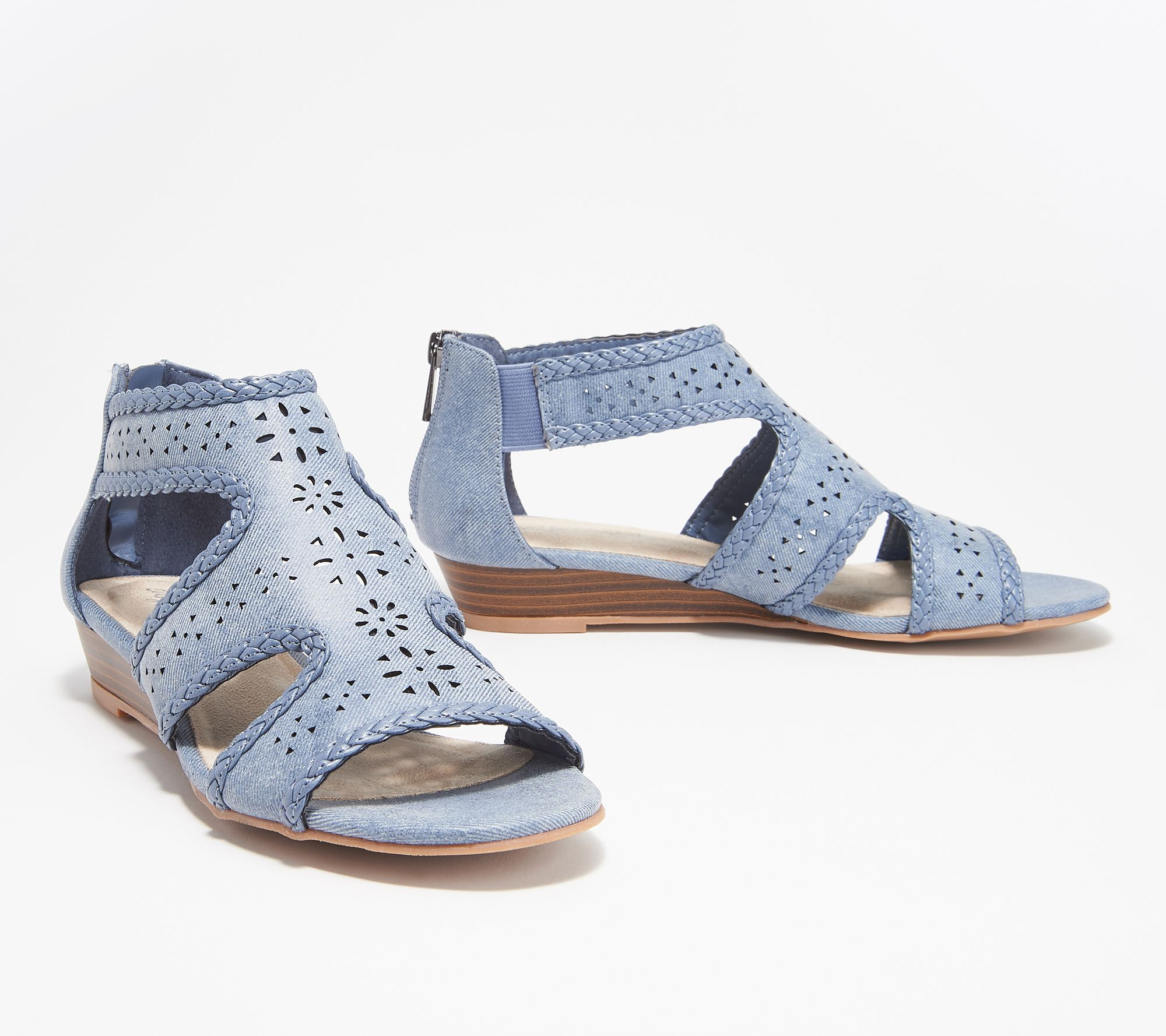 ee9ef9f812b6 Easy Street Back Zip Wedge Sandals - Thelma — QVC.com