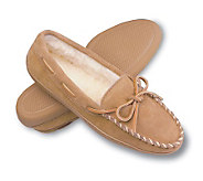Minnetonka Pile Lined Hardsole Womens Suede Slippers with Ti - A141132