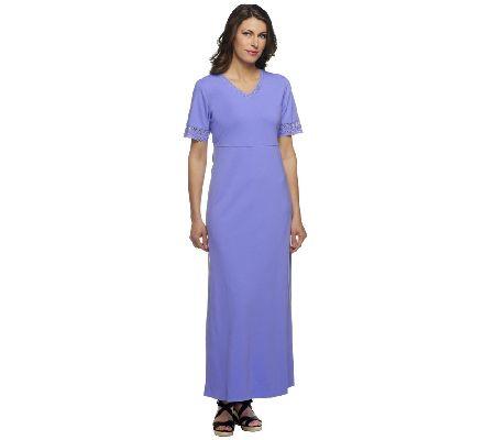 240a548bbc Denim   Co. V-neck Empire Waist Maxi Dress with Crochet Trim - Page 1 —  QVC.com