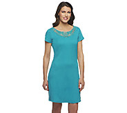Liz Claiborne New York Petite Knit Dress with Lace Detail - A254132