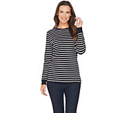 Denim & Co. Perfect Jersey Long Sleeve Stripe Top with Zipper Detail - A257332