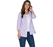 Denim & Co. Essentials Knit 3/4 Sleeve Open Front Jacket - A265632