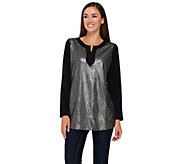 Quacker Factory Printed Sequin Metallic Long Sleeve Jersey Tunic - A267232