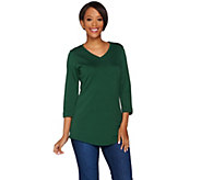 C. Wonder Essentials Pima Cotton 3/4 Sleeve V-neck Tunic - A279332