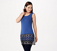 LOGO by Lori Goldstein Knit Tank with Two-Toned Lace Trim - A282132
