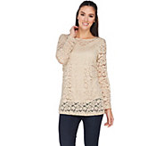 Susan Graver Stretch Lace Long Sleeve Tunic with Tank - A285432