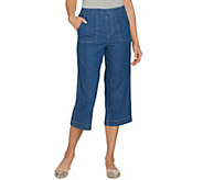 Studio by Denim & Co. Stretch Denim Wide Leg Gaucho Pants - A288732