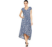 Kelly by Clinton Kelly Petite Printed Maxi Dress w/ Hi-Low Hem - A290532
