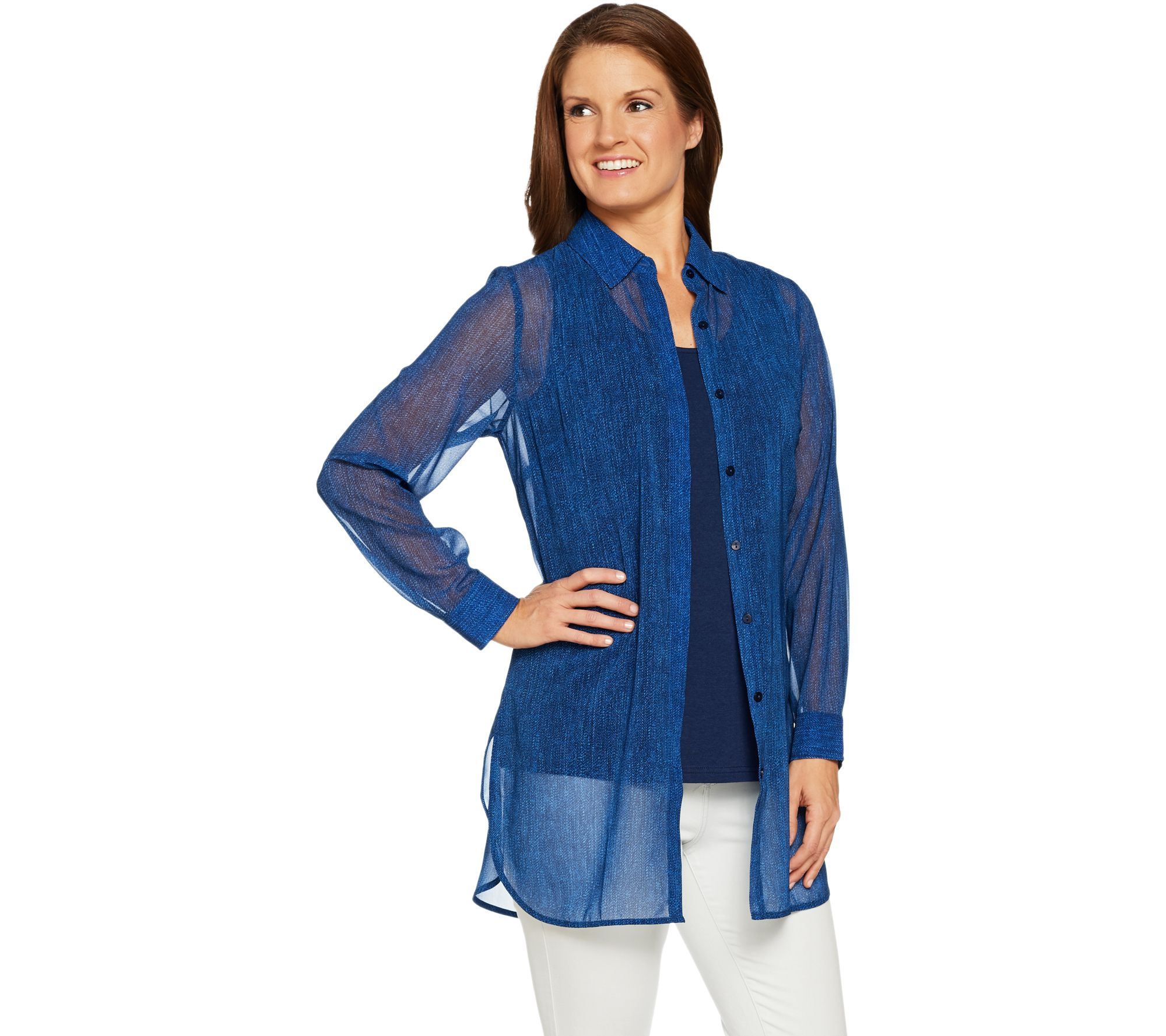Studio By Denim Co Printed Tunic Shirt With Tank Page 1 Qvc