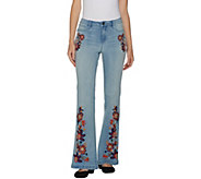 G.I.L.I. Regular Flare Leg Jean with Embroidery - A300132