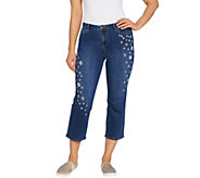 LOGO by Lori Goldstein Embroidered Boyfriend Crop Jeans - A301232