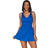 Denim & Co. Beach Double Ruffle Swim Dress - A303732