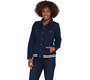 Denim & Co. Comfy Knit Jean Jacket w/ Rib Trim - A309432