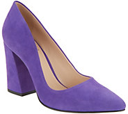 Vince Camuto Suede Pointy Toe Block Heel Pumps - Talise - A310632