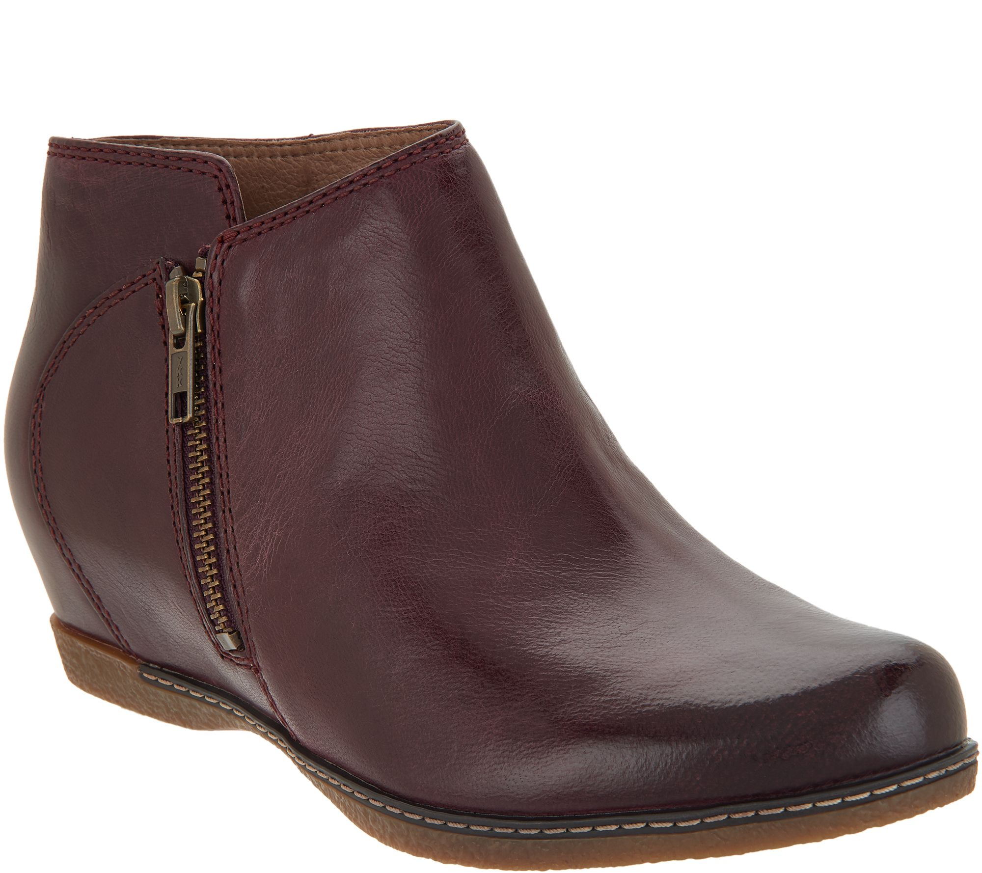 e4b432ef5 Dansko Leather Wedge Ankle Boots - Leyla - Page 1 — QVC.com