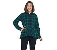 Joan Rivers Plaid Peplum Shirt with Fringe Hem - A344332