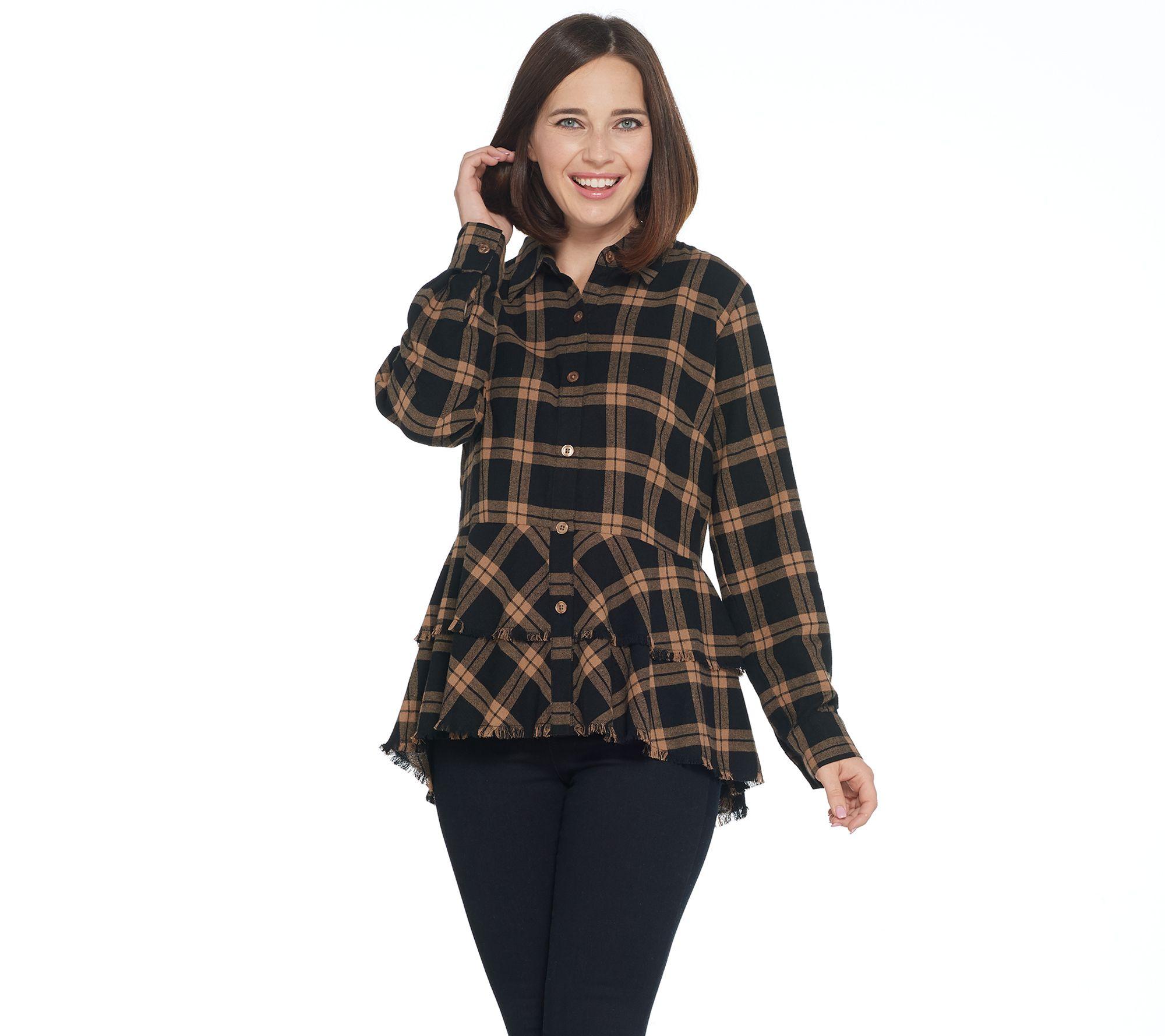 c6c8b167043a Joan Rivers Plaid Peplum Shirt with Fringe Hem - Page 1 — QVC.com