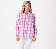 Joan Rivers Plaid Shirt with Fringe Hem - A347332