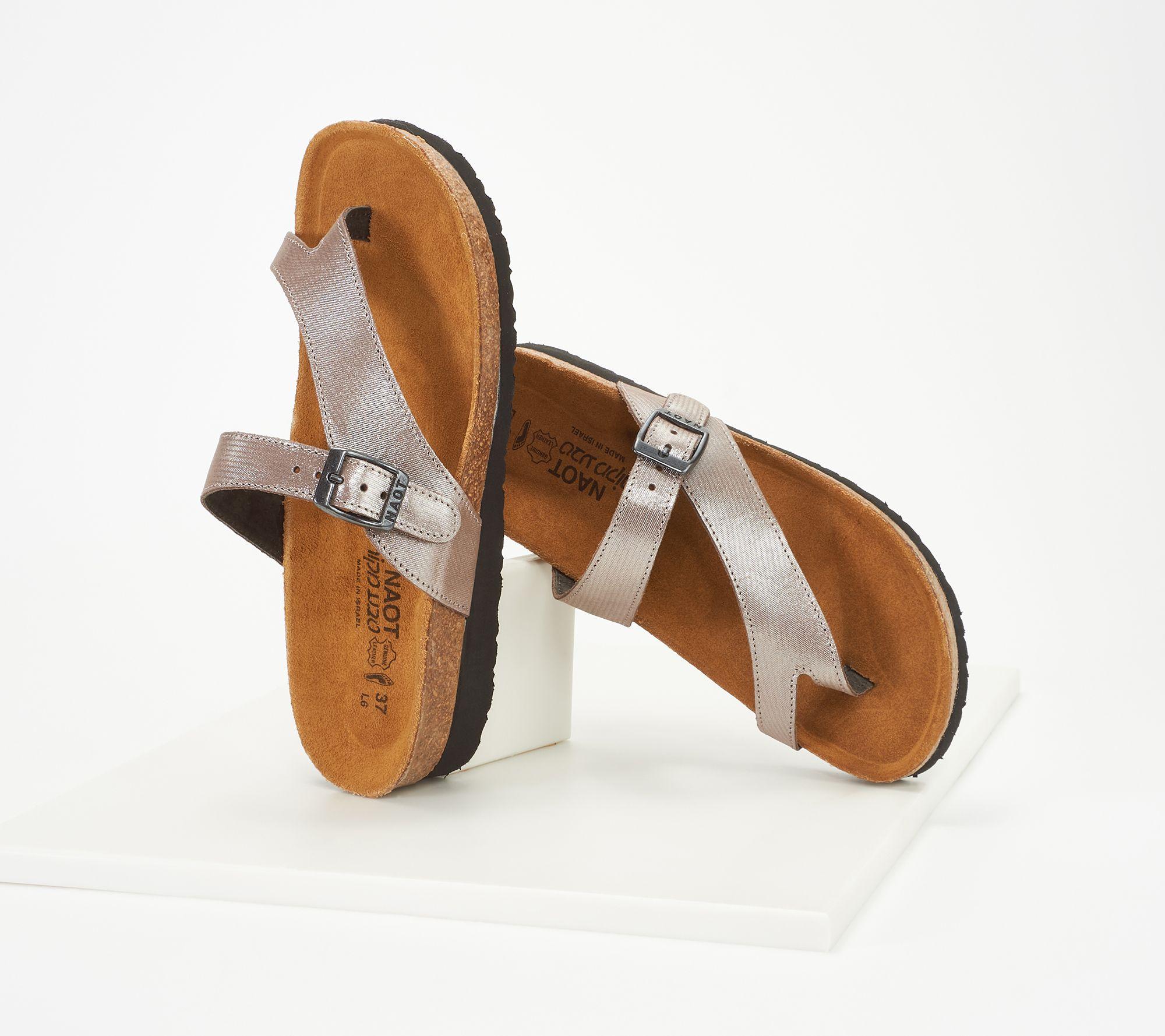 f3a1f37daa90 Naot Leather Toe-Loop Slide Sandals - Tahoe - Page 1 — QVC.com