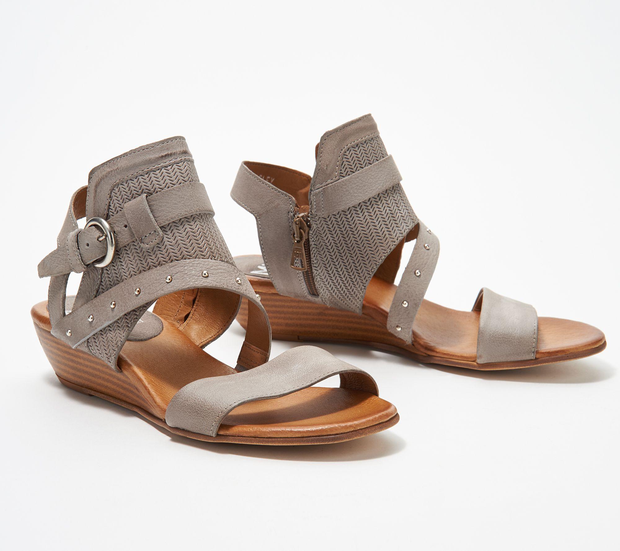 178e780e0fd9 Miz Mooz Leather Buckle Demi-Wedge Sandals - Farley - Page 1 — QVC.com