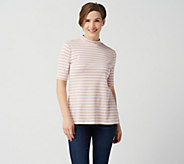 Isaac Mizrahi Live! Essentials Pima Cotton Striped Mock Neck Top - A350432