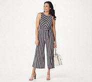 Du Jour Regular Stripe Printed Wide-Leg Crop Jumpsuit - A352932
