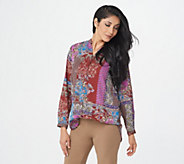 Joan Rivers Patchwork Print Textured Blouse - A366232