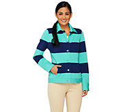 Isaac Mizrahi Live! Striped Button Front Knit Jacket - A262033
