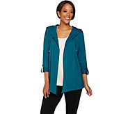 Susan Graver Weekend Cotton Modal Open Front Hooded Cardigan - A277833