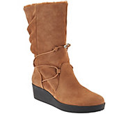 As Is H by Halston Suede Wedge Boots w/ Faux Fur - Liz - A283833