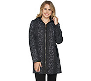 Dennis Basso Water Resistant Leopard Print Jacket with Hood - A294633