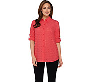 As Is Joan Rivers Eyelet Boyfriend Shirt with 3/4 Sleeves - A295533