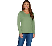 Isaac Mizrahi Live! Essentials Rounded V-neck Hi-Low Hem Top - A296833