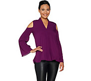 Kelly by Clinton Kelly Cold Shoulder Woven Pleat Front Top - A297933