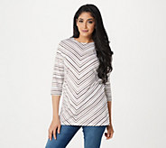 Denim & Co. Petite 3/4 Sleeve Striped Round Neck Tunic - A305333