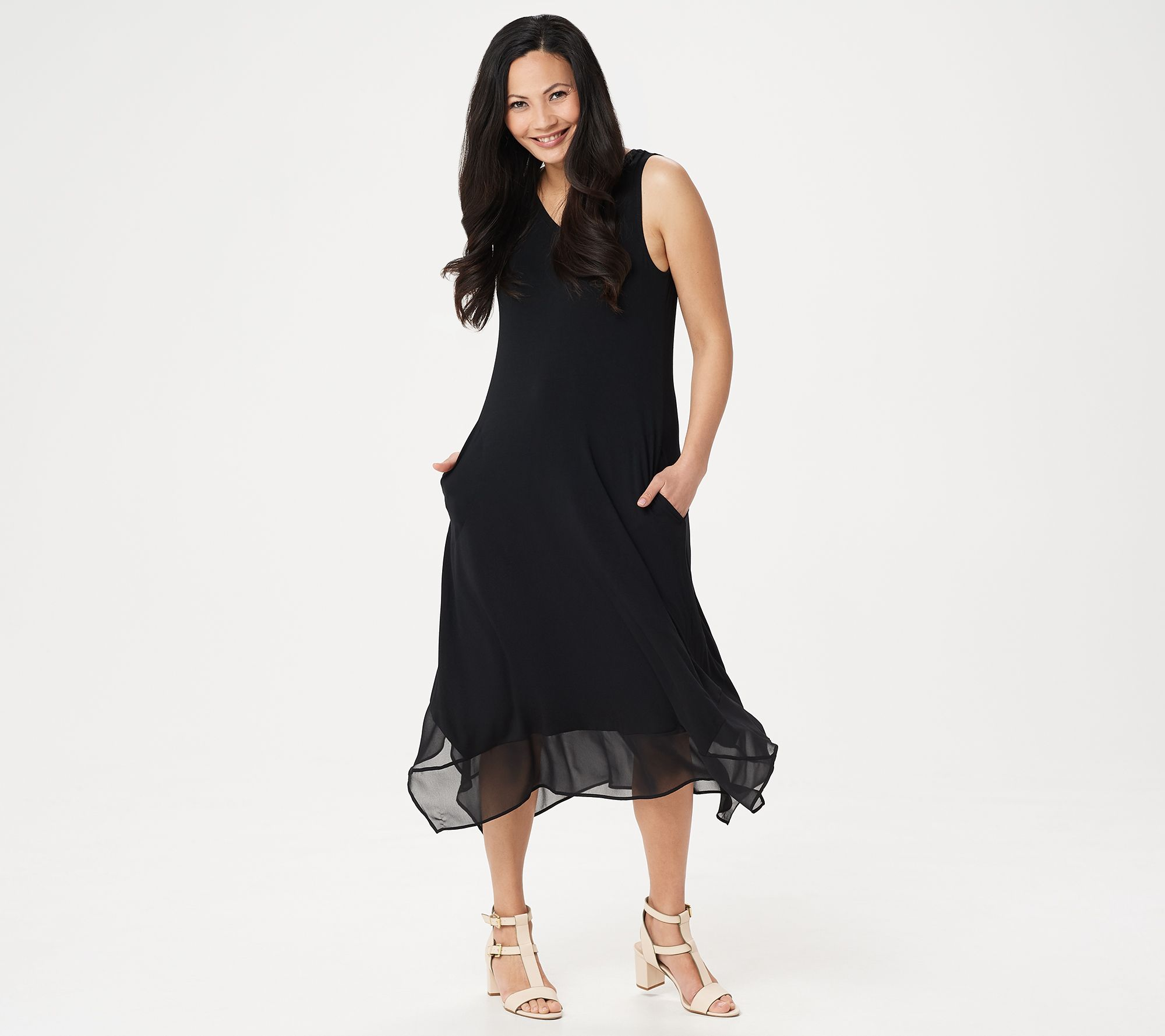 b9f8f8fa8 LOGO by Lori Goldstein Knit Sleeveless Maxi Dress with Chiffon Trim - Page  1 — QVC.com