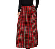 As Is Joan Rivers Petite Length Holiday Plaid Maxi Skirt - A307933