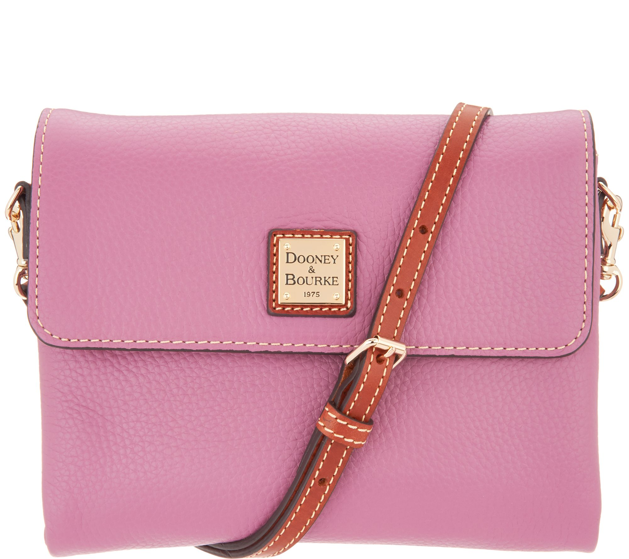 2ca4e9d890c Dooney   Bourke Pebble Leather Crossbody Handbag - Hunter - Page 1 — QVC.com