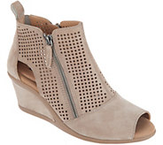 Earth Perforated Suede Side Zip Wedges - Cosmos - A311333